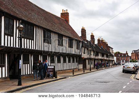 STRATFORD-UPON-AVON,WARWICKSHIRE / UNITED  KINGDOM - June 10,2017: Part of King Edward VI Grammar School where it is believed that William Shakespeare studied