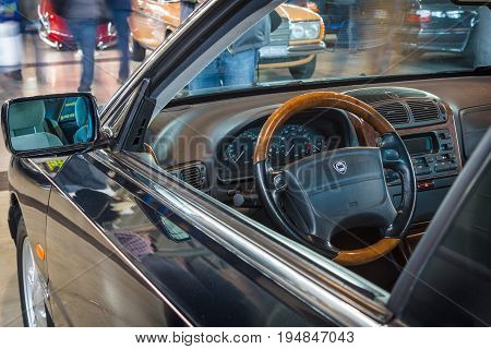 STUTTGART GERMANY - MARCH 18 2016: Cabin of executive car Lancia Kappa Coupe 3.0 V6 1998. Europe's greatest classic car exhibition