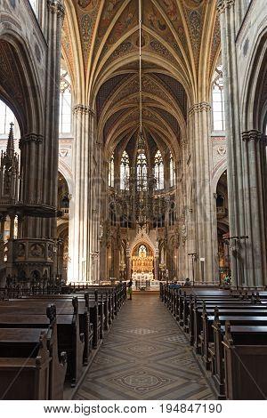 VIENNA, FRANCE-JUNE 02, 2017: Interior view of Votive Church in Vienna
