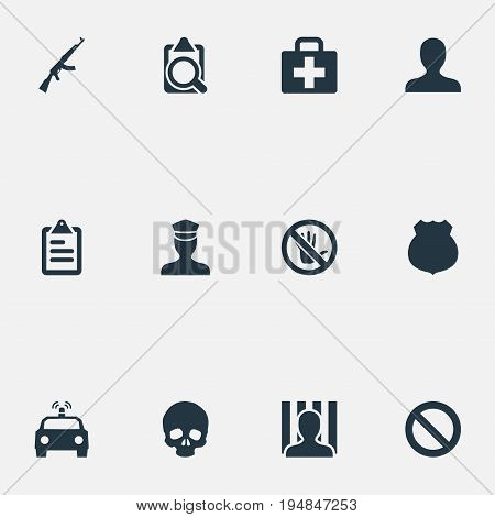 Vector Illustration Set Of Simple Crime Icons. Elements Checklist, Police Car, Stop And Other Synonyms Bone, Safety And Cell.