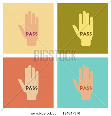 assembly of flat icons poker hand pass