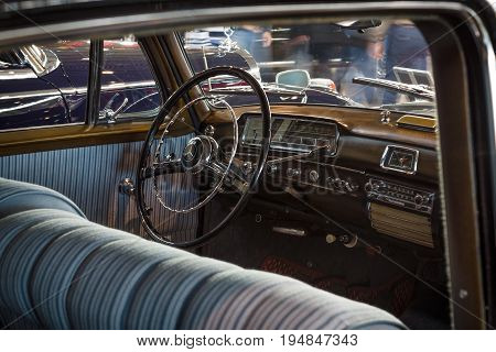 STUTTGART GERMANY - MARCH 18 2016: Cabin of luxury car Mercedes-Benz 220S (W188) 1956. Europe's greatest classic car exhibition