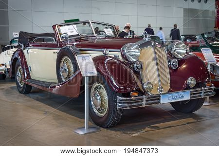 STUTTGART GERMANY - MARCH 18 2016: Luxury car Horch 853A Cabriolet 1938. Europe's greatest classic car exhibition