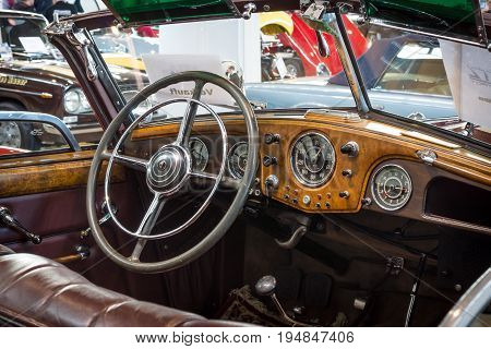 STUTTGART GERMANY - MARCH 18 2016: Cabin of luxury car Horch 853 A Cabriolet 1938. Europe's greatest classic car exhibition