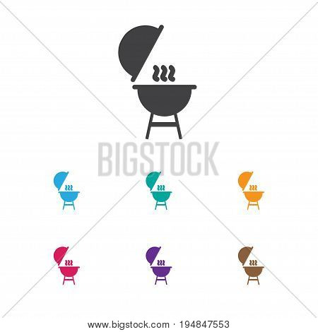 Vector Illustration Of Travel Symbol On Barbecue Icon. Premium Quality Isolated Kebab Element In Trendy Flat Style.
