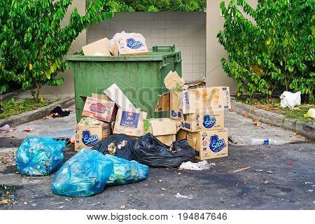 Kota Kinabalu, Malaysia - 09 July, 2017: Rubbish Bins Overflow With Rubbish And Garbage Thrown On Th