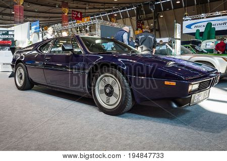 STUTTGART GERMANY - MARCH 18 2016: Sports car BMW M1 (E26). Europe's greatest classic car exhibition
