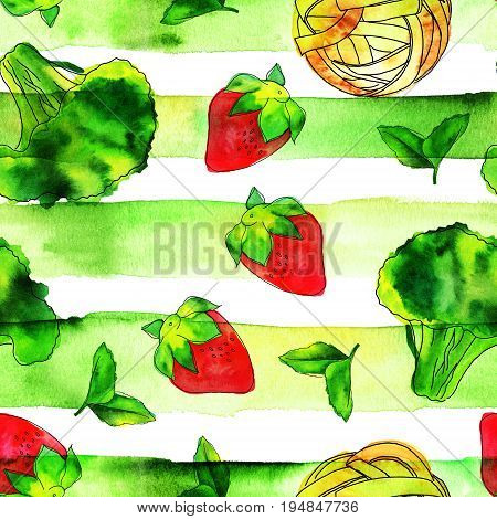 A seamless pattern of watercolour and ink vegan food themed drawings. Leaves of mint, strawberry, broccoli sprout, and pappardelle pasta nest, hand painted, on a green striped texture
