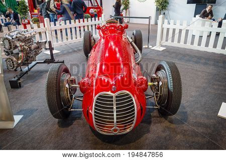 STUTTGART GERMANY - MARCH 18 2016: The racing car a Formula One Maserati 4CLT 1948. Europe's greatest classic car exhibition