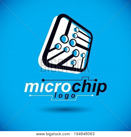 Vector abstract technology monochrome circuit board. High tech digital square scheme of electronic device. Modern innovation technologies logo.