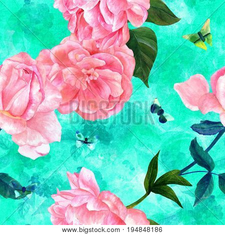 Seamless pattern with watercolor drawings of blooming pink roses, camellias, peonies, and butterflies, hand painted on a teal texture with organic prints in style of vintage botanical art