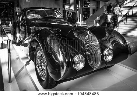 STUTTGART GERMANY - MARCH 18 2016: Vintage car Talbot-Lago T150 SS Teardrop Coupe 1937. Black and white. Europe's greatest classic car exhibition