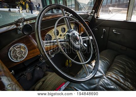 STUTTGART GERMANY - MARCH 18 2016: Cabin of luxury car Mercedes-Benz Typ Nuerburg 500 1933. Europe's greatest classic car exhibition