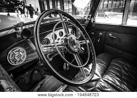 STUTTGART GERMANY - MARCH 18 2016: Cabin of luxury car Mercedes-Benz Typ Nuerburg 500 1933. Black and white. Europe's greatest classic car exhibition
