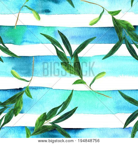 A seamless pattern with a watercolor drawing of a green olive branch on an abstract teal striped repeat print