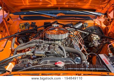 STUTTGART GERMANY - MARCH 18 2016: Engine of Dodge Charger close-up 1974. Europe's greatest classic car exhibition