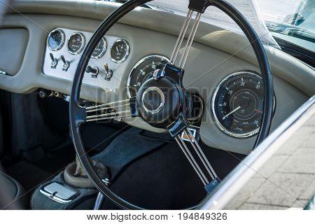 STUTTGART GERMANY - MARCH 18 2016: Cabin a sports car Daimler Dart SP250 Hardtop 1961. Europe's greatest classic car exhibition