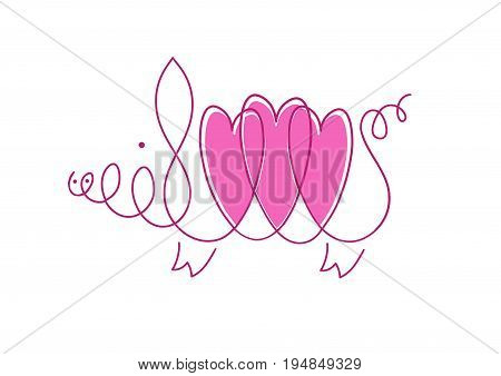 Love from pig. linear image of a pig with three hearts on white background.