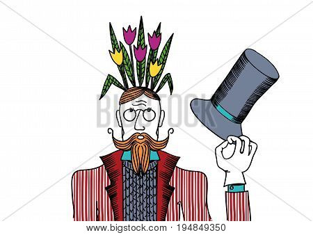 Man with flowers on her head in colors. Vector illustration depicting a man with flowers on her head