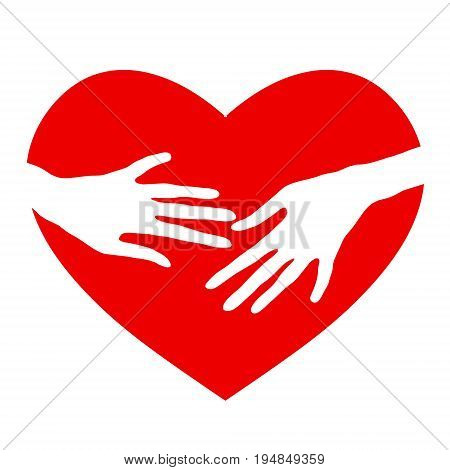 Gentle touch. Vector icon of love. Gentle touch. Silhouette of the heart.
