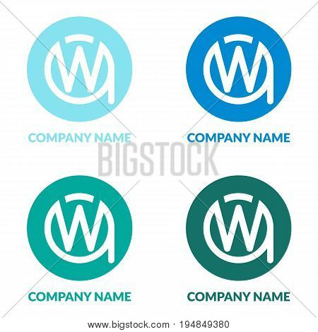 Initial Letters WA or AW W A Circle Shape Creative Company Logo Design Template. Different Colors.