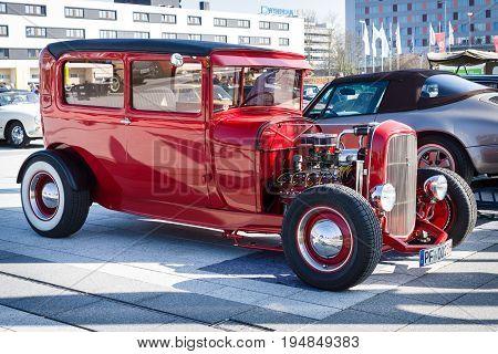 STUTTGART GERMANY - MARCH 18 2016: Retro car Ford Model A Tudor Sedan 1928. Europe's greatest classic car exhibition