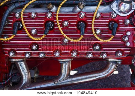 STUTTGART GERMANY - MARCH 18 2016: Fragment of an engine of Ford Model A Tudor Sedan 1928. Europe's greatest classic car exhibition