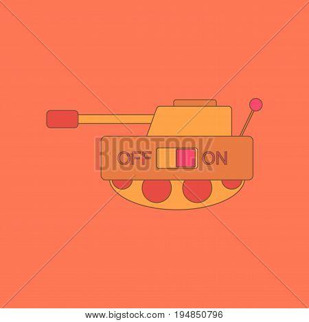 flat icon on stylish background Kids toy tank