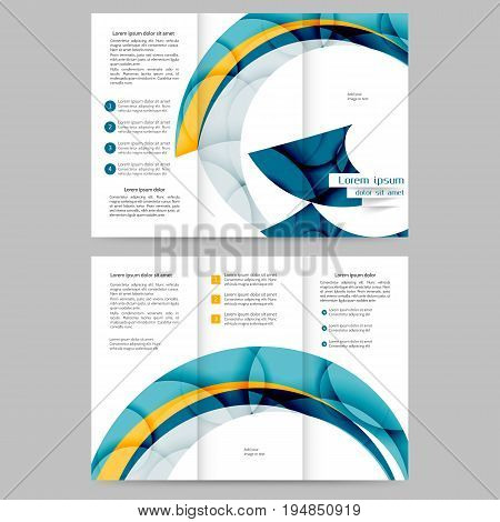 Color tri fold business brochure design with abstract lines and waves