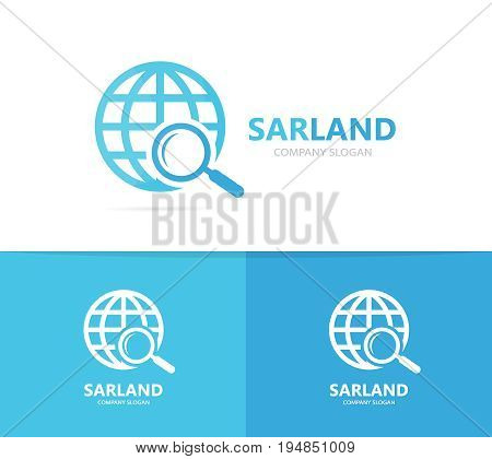 planet and loupe logo combination. World and magnifying glass symbol or icon. Unique globe and search logotype design template.