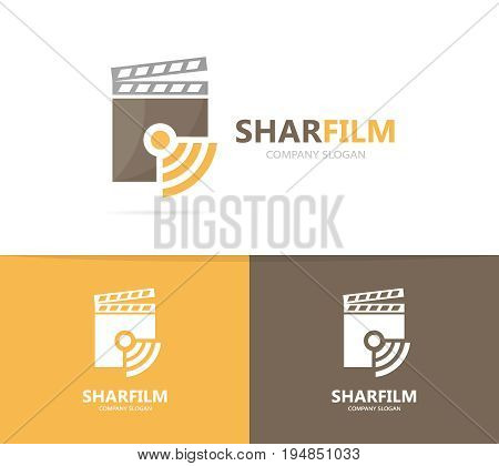 clapperboard and wifi logo combination. Cinema and signal symbol or icon. Unique video and radio, internet logotype design template.
