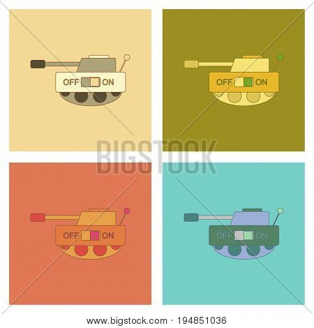 assembly of flat icons Kids toy tank