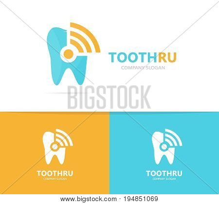tooth and wifi logo combination. Dental and signal symbol or icon. Unique clinic and radio, internet logotype design template.