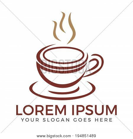 Coffee shop logo design. Abstract coffee cup with steam coffee house.