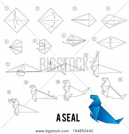 Step by step instructions how to make origami A Bird, shadoof