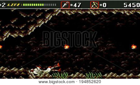 KURSK. RUSSIA - JUNE 26, 2017: the gameplay is one of the popular games on the console that was popular in the 90s.