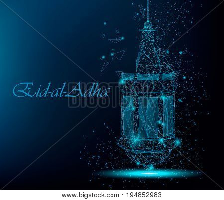 Eid Al Adha beautiful greeting card with traditional Arabic lantern. Polygonal art on blue background. Stock vector