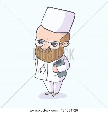 Doctor with beard standing character vetor illustration