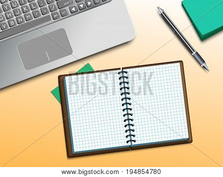 Modern Design Concept of Creative Office Workspace. Vector Illustration. Computer, notebooke and pen on the table. Used clipping and opacity masks.