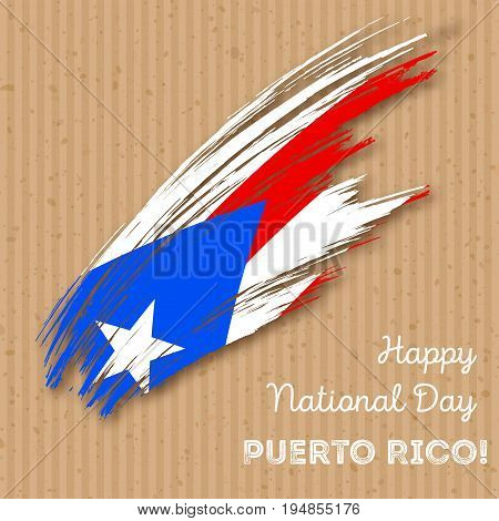 Puerto Rico Independence Day Patriotic Design. Expressive Brush Stroke In National Flag Colors On Kr