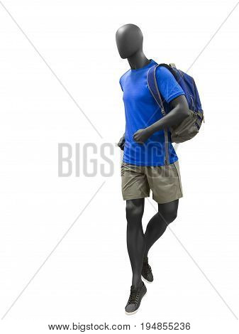 Running male mannequin dressed in t-shirt and shorts isolated on white background. No brand names or copyright objects.