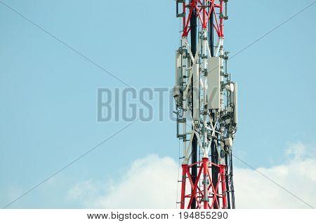 Telecommunication antennas. Telecommunication antennas outdoor on the tall metal pole.