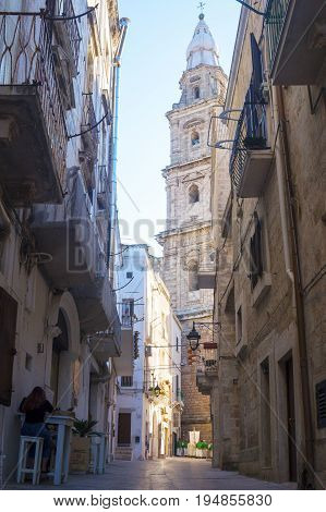 Monopoli, Puglia, Italy - beautiful alley to Basilica of the Madonna della Madia