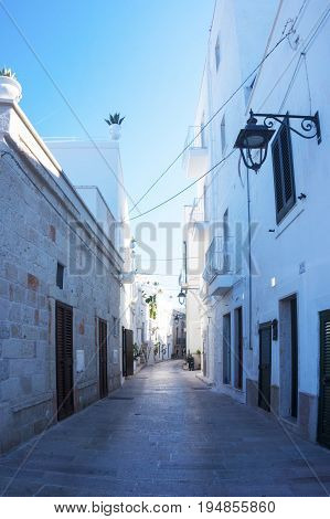 Monopoli, Puglia, Italy - beautiful white sunny alley