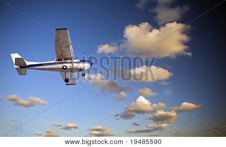small airplane in twilight