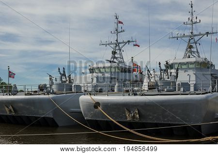 Two Warships - Norwegian Mineships at the port quay