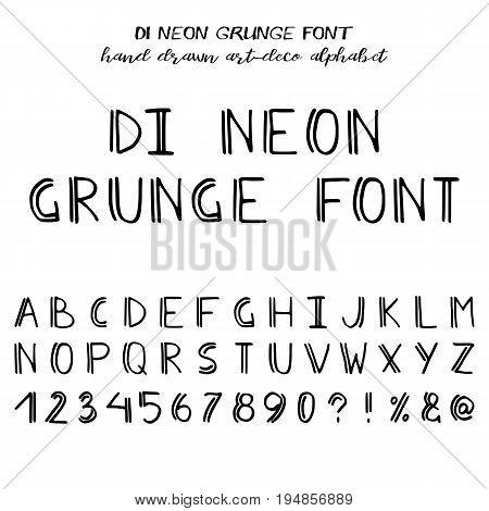 Hand drawn alphabet written brush font in art-deco style: capital latin letters numbers and main punctuation. Vector illustration