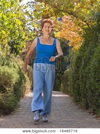 senior women exercise walking
