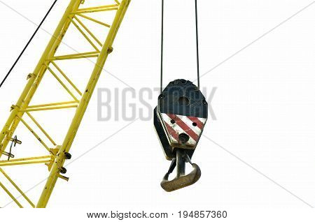 Construction crane hook. Partially isolated on white background. Crane hook.