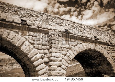 Stone Stone Roman bridge in Salamanca, Spain